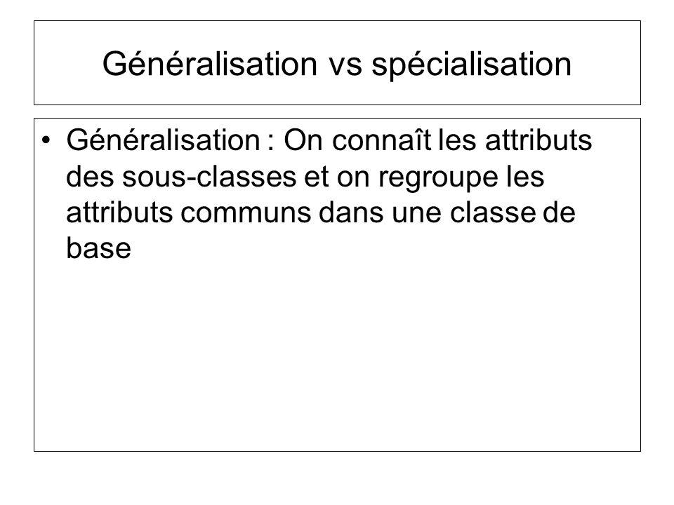 Généralisation vs spécialisation