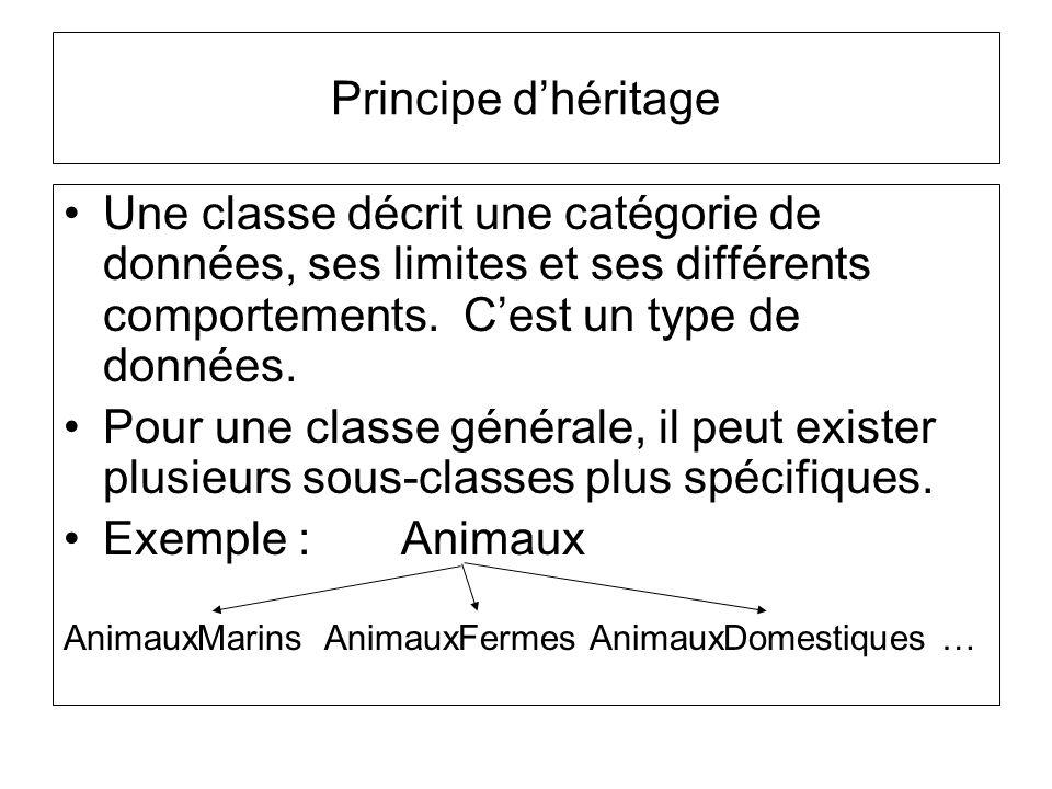 Principe d'héritage Une classe décrit une catégorie de données, ses limites et ses différents comportements. C'est un type de données.