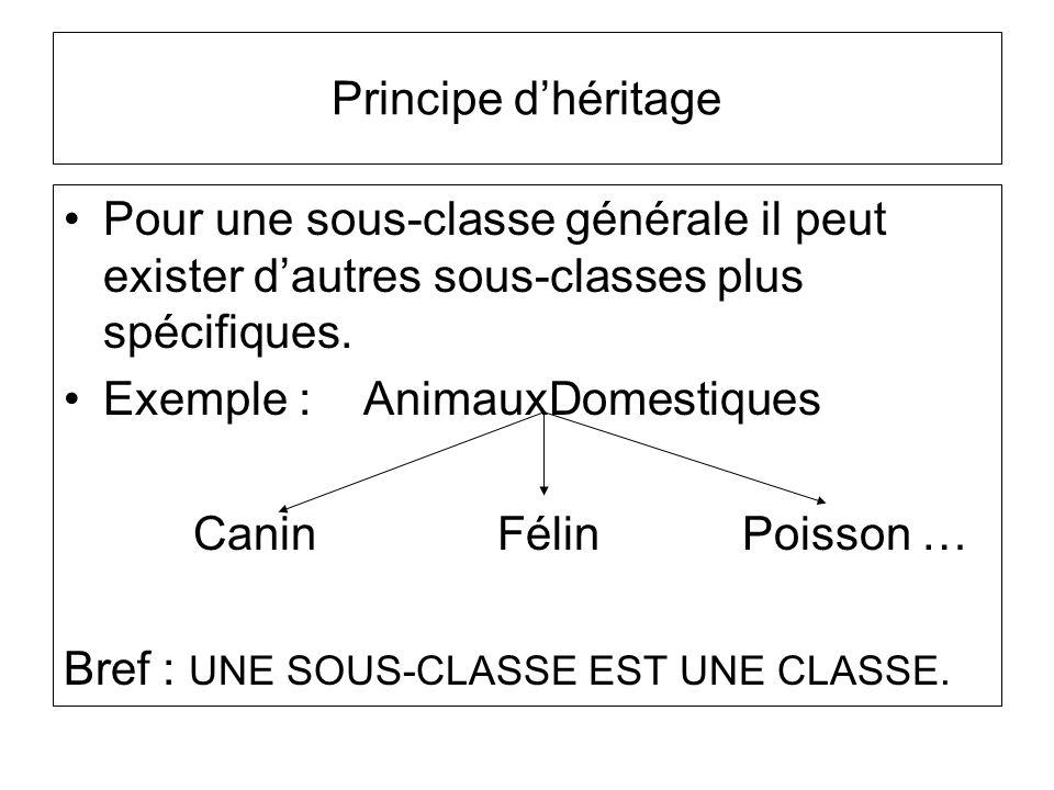 Principe d'héritage Pour une sous-classe générale il peut exister d'autres sous-classes plus spécifiques.