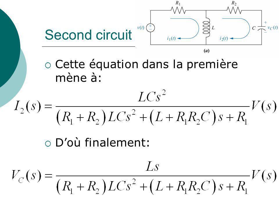 Second circuit Cette équation dans la première mène à: