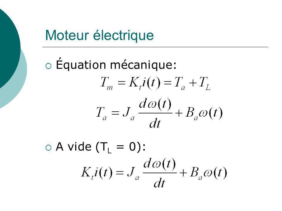 Moteur électrique Équation mécanique: A vide (TL = 0):