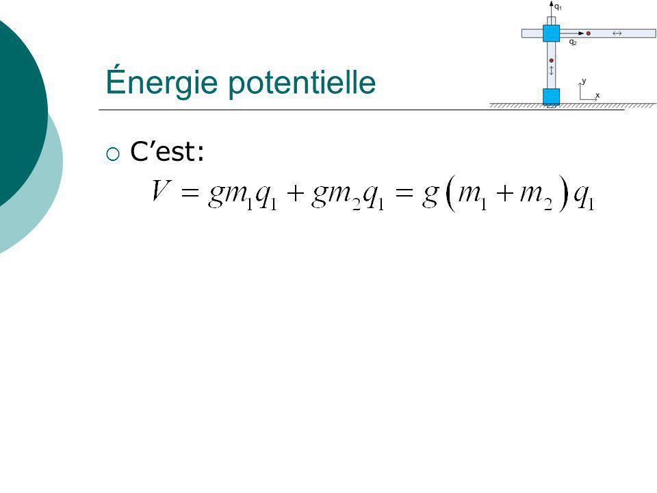 Énergie potentielle C'est: