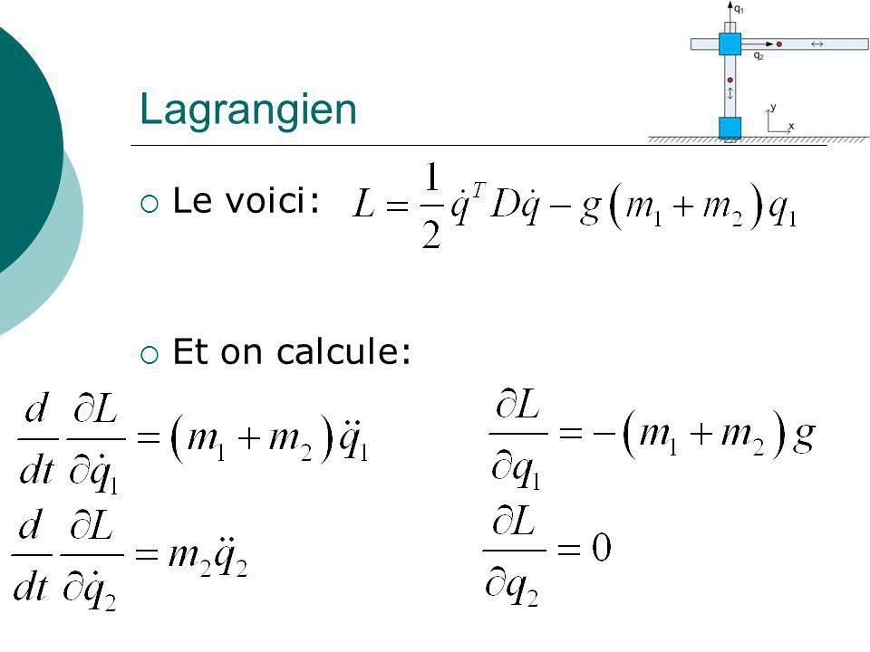 Lagrangien Le voici: Et on calcule: