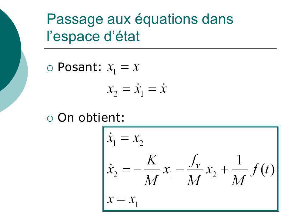Passage aux équations dans l'espace d'état