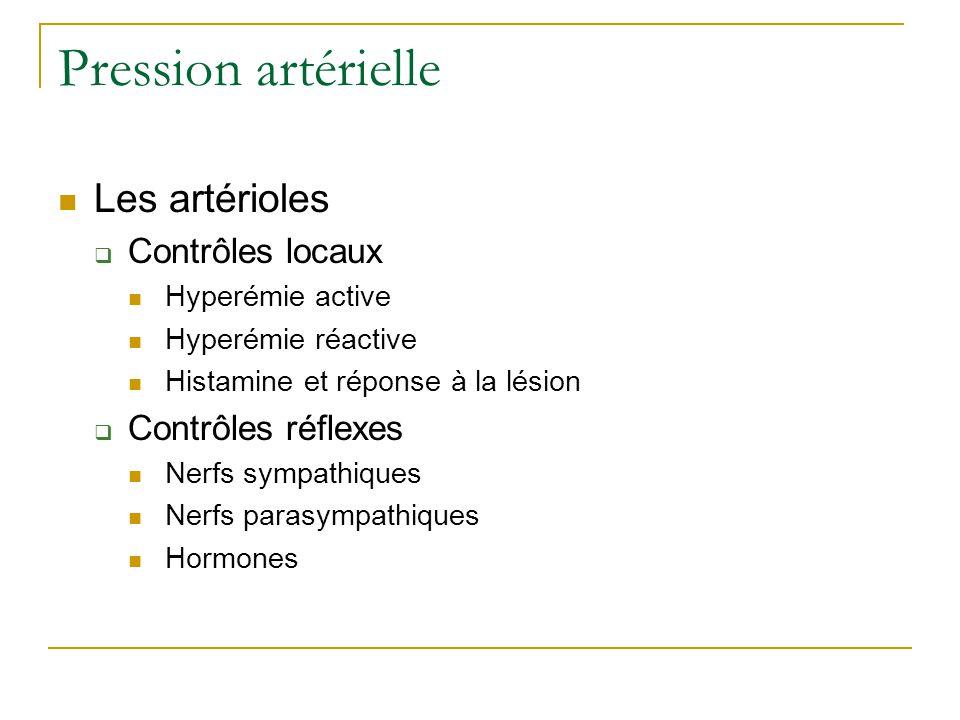Pression artérielle Les artérioles Contrôles locaux Contrôles réflexes