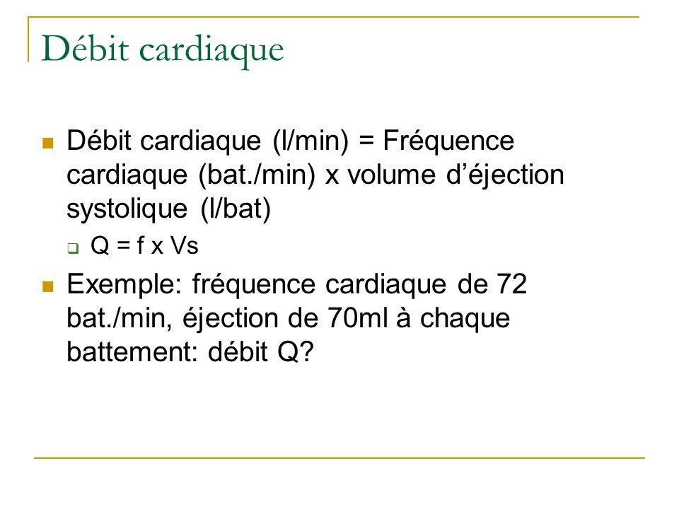 Débit cardiaque Débit cardiaque (l/min) = Fréquence cardiaque (bat./min) x volume d'éjection systolique (l/bat)