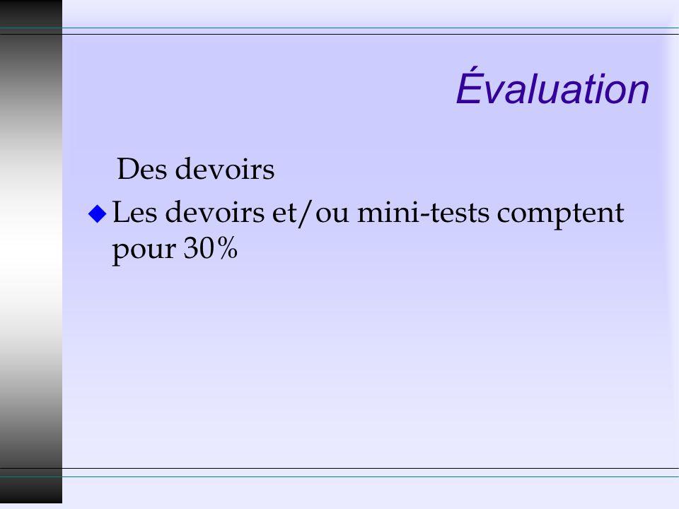 Évaluation Des devoirs Les devoirs et/ou mini-tests comptent pour 30%