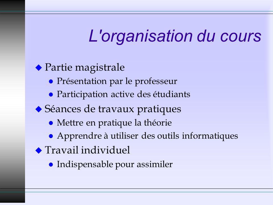 L organisation du cours