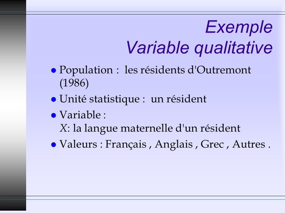 Exemple Variable qualitative