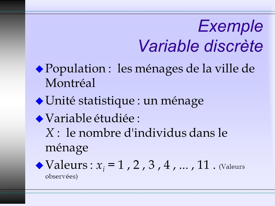 Exemple Variable discrète