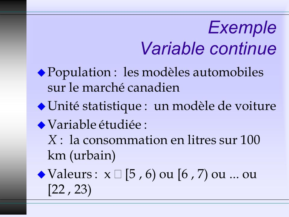 Exemple Variable continue