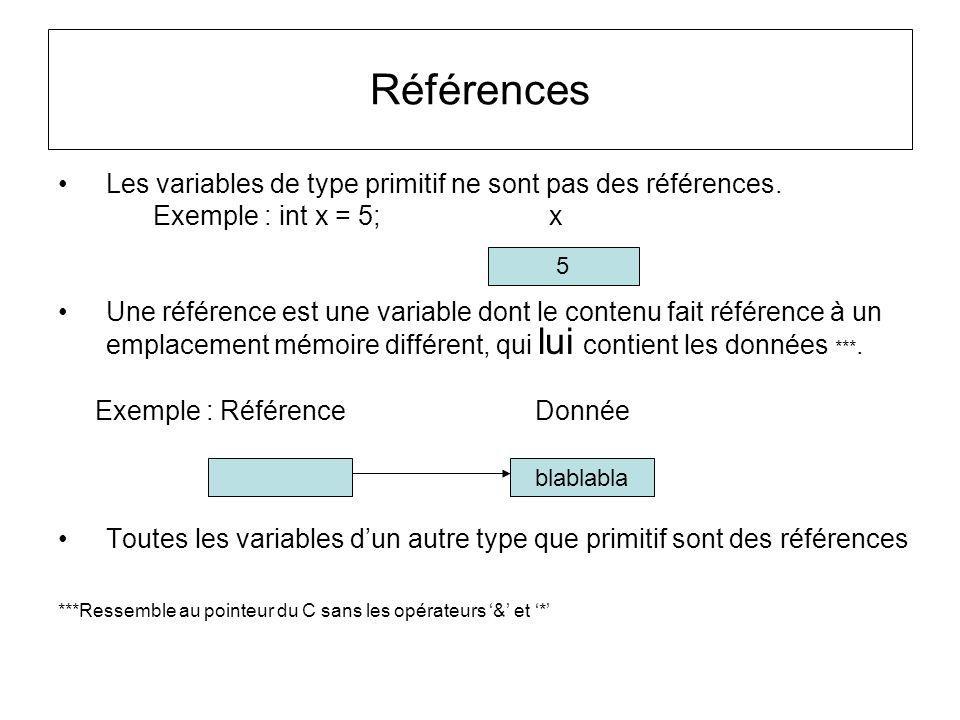 Références Les variables de type primitif ne sont pas des références.