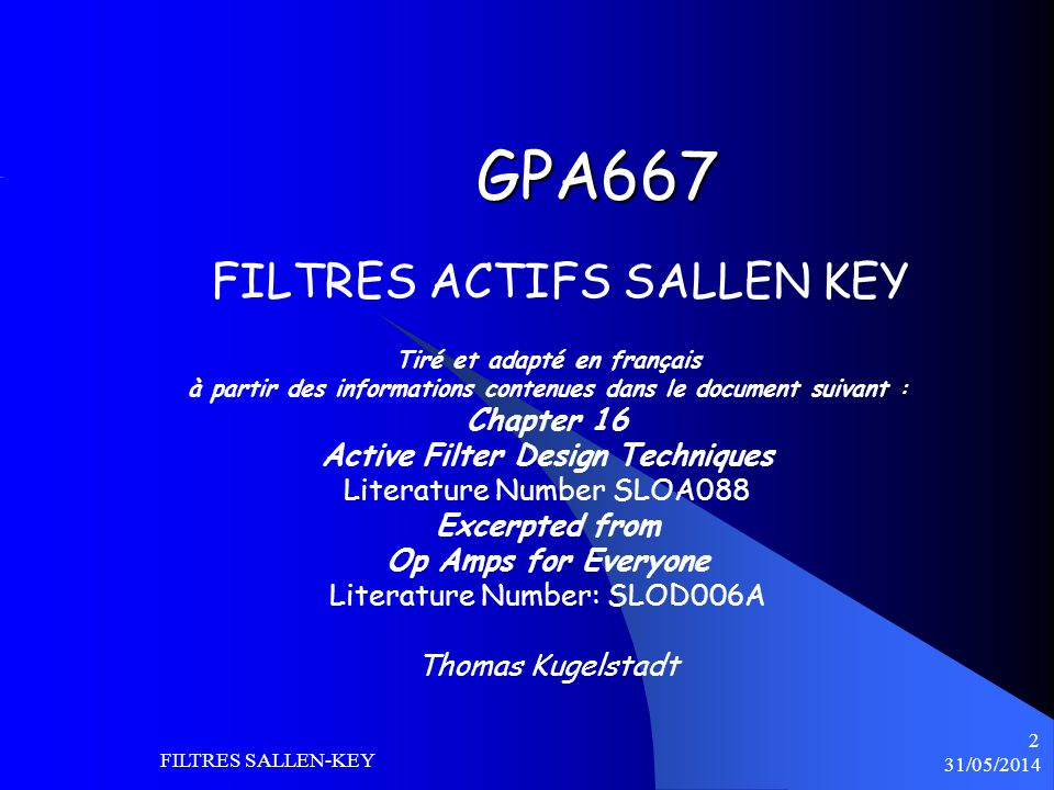 GPA667 FILTRES ACTIFS SALLEN KEY Chapter 16