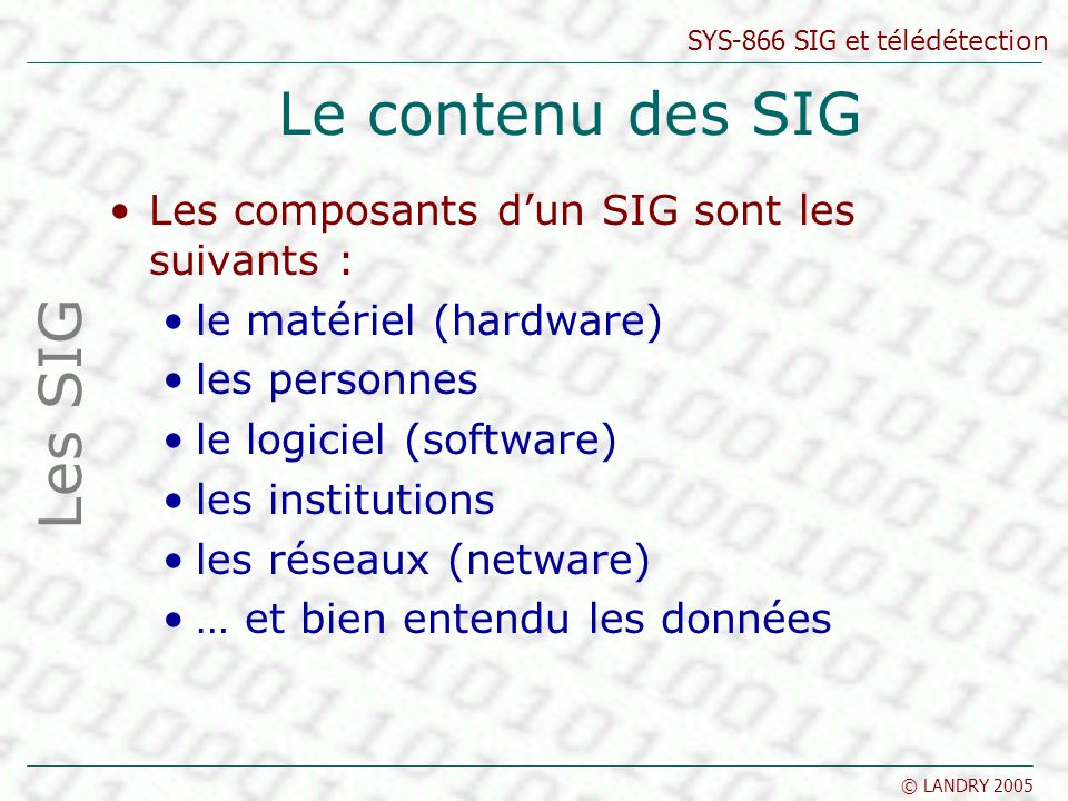 Le contenu des SIG Les SIG Les composants d'un SIG sont les suivants :