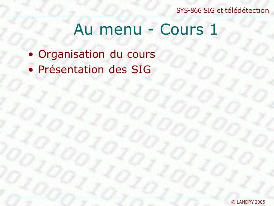 Au menu - Cours 1 Organisation du cours Présentation des SIG