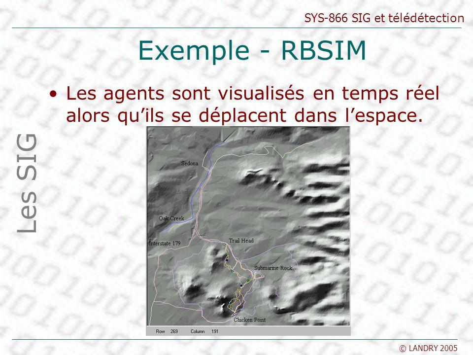 Exemple - RBSIM Les agents sont visualisés en temps réel alors qu'ils se déplacent dans l'espace.