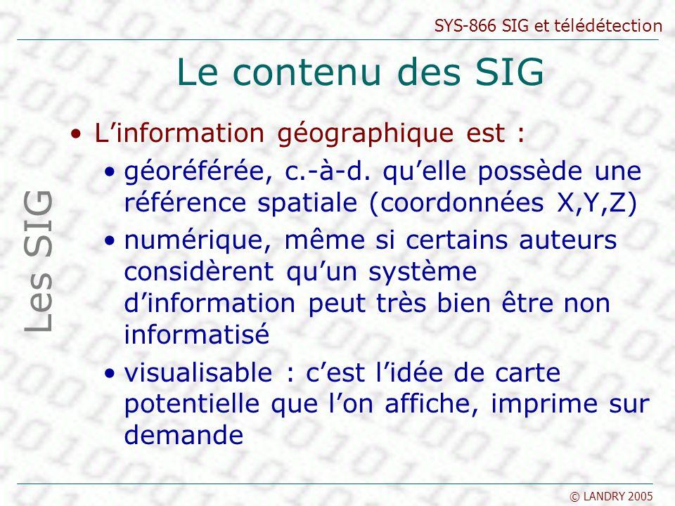 Le contenu des SIG Les SIG L'information géographique est :