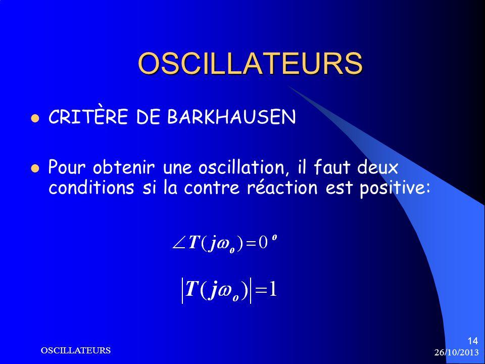 OSCILLATEURS CRITÈRE DE BARKHAUSEN