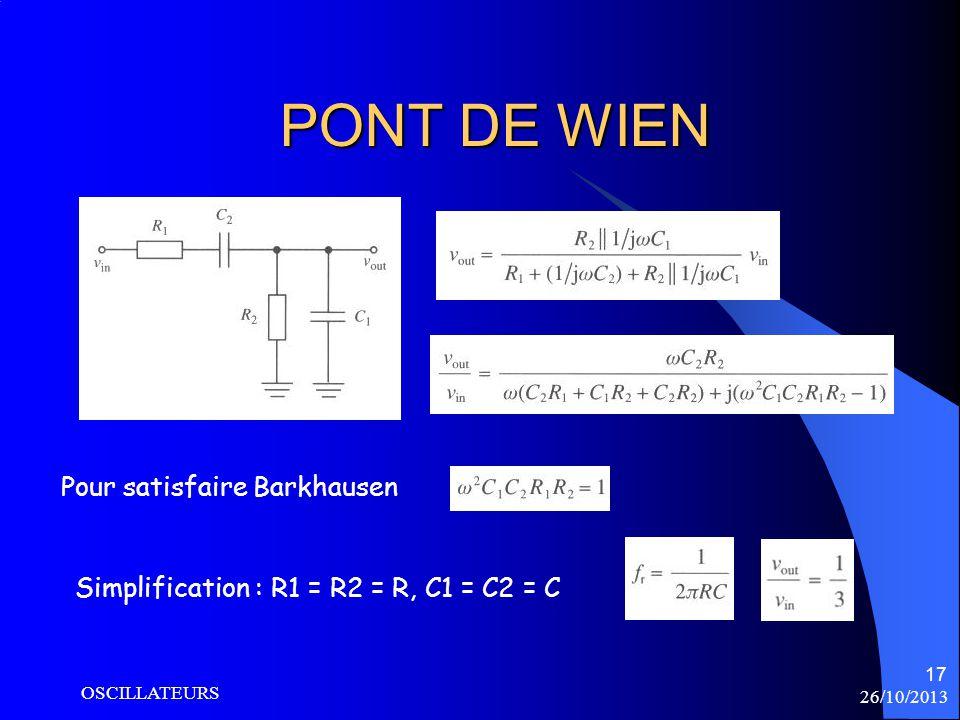 PONT DE WIEN Pour satisfaire Barkhausen