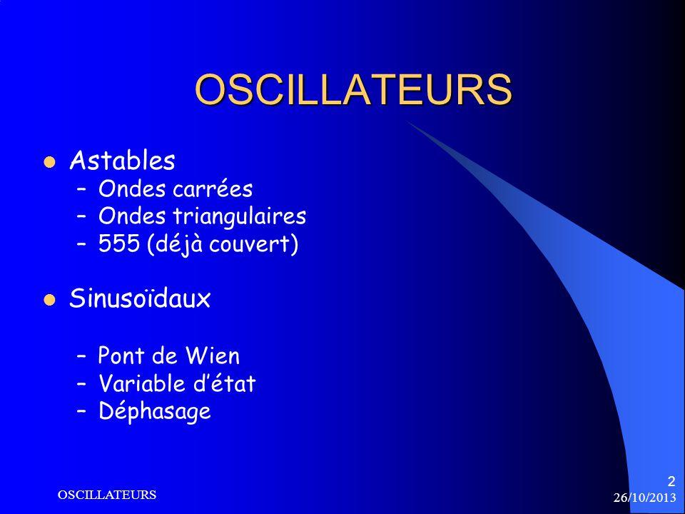 OSCILLATEURS Astables Sinusoïdaux Ondes carrées Ondes triangulaires