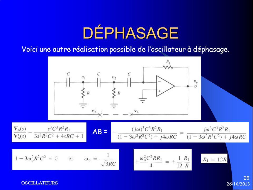 DÉPHASAGE Voici une autre réalisation possible de l'oscillateur à déphasage..