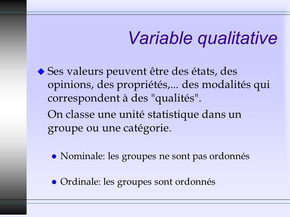 Variable qualitative Ses valeurs peuvent être des états, des opinions, des propriétés,... des modalités qui correspondent à des qualités .