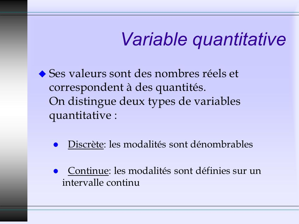 Variable quantitative