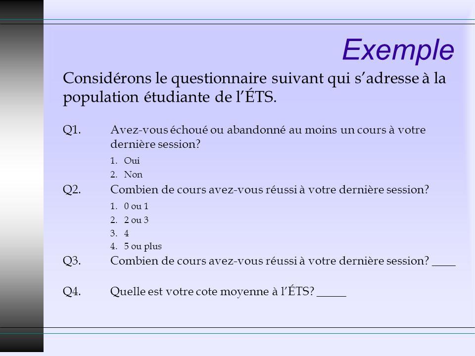 Exemple Considérons le questionnaire suivant qui s'adresse à la population étudiante de l'ÉTS.