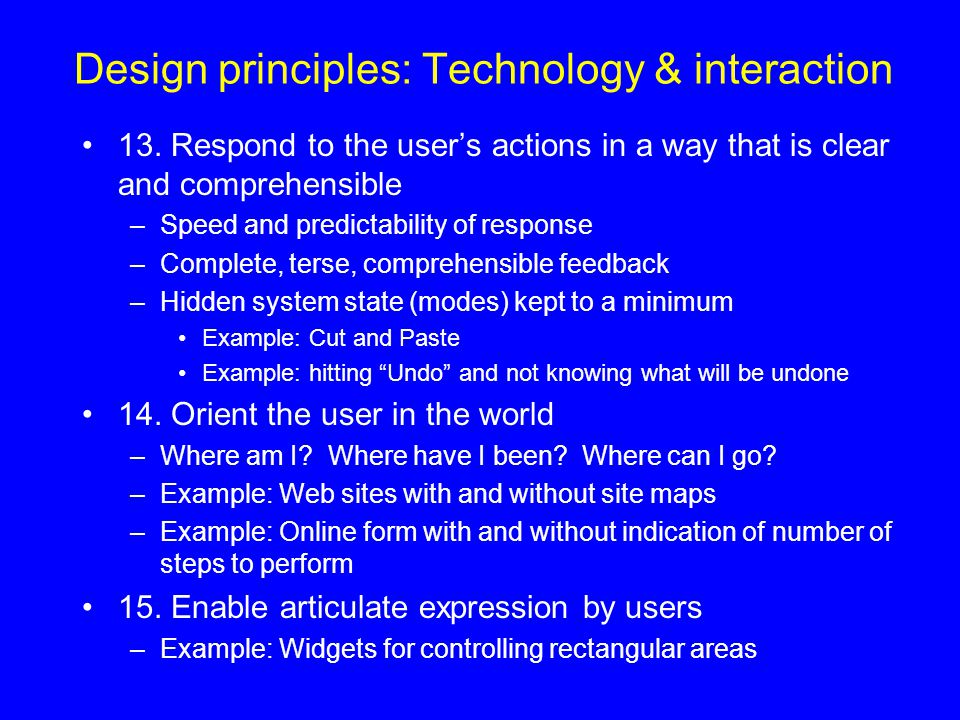 Design principles: Technology & interaction
