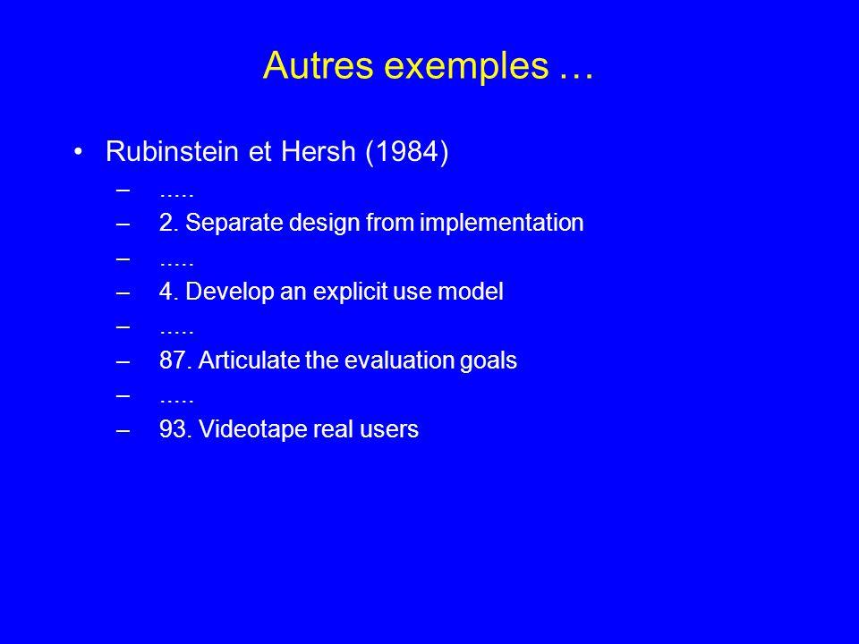 Autres exemples … Rubinstein et Hersh (1984) .....