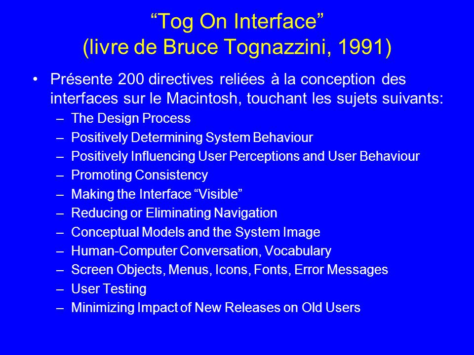 Tog On Interface (livre de Bruce Tognazzini, 1991)