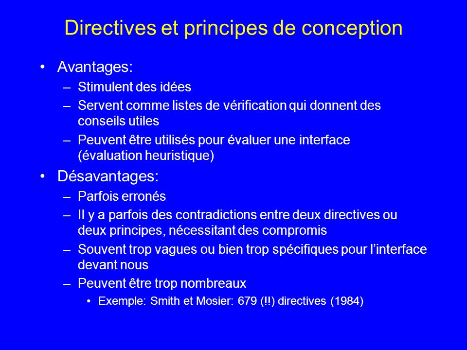 Directives et principes de conception