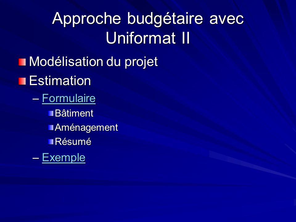 Approche budgétaire avec Uniformat II