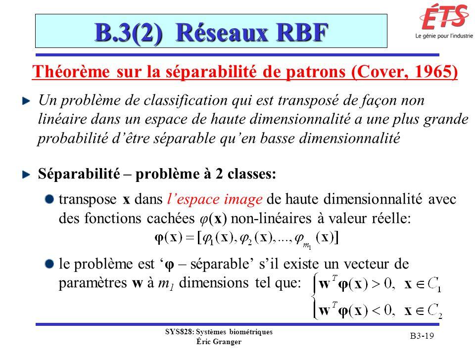 B.3(2) Réseaux RBF Théorème sur la séparabilité de patrons (Cover, 1965)