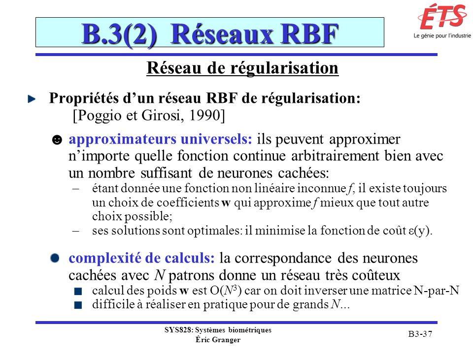 Réseau de régularisation SYS828: Systèmes biométriques