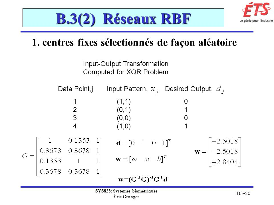 B.3(2) Réseaux RBF 1. centres fixes sélectionnés de façon aléatoire