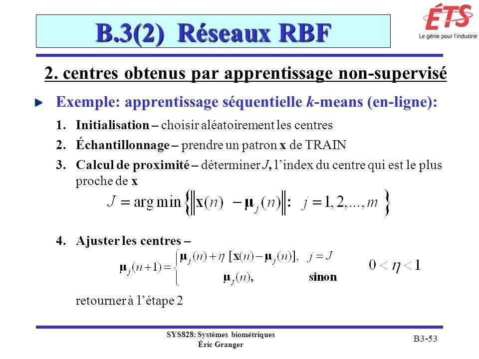 B.3(2) Réseaux RBF 2. centres obtenus par apprentissage non-supervisé