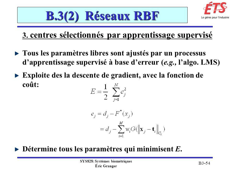 B.3(2) Réseaux RBF 3. centres sélectionnés par apprentissage supervisé