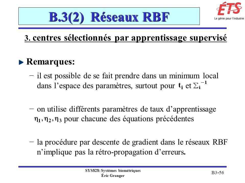 B.3(2) Réseaux RBF Remarques: