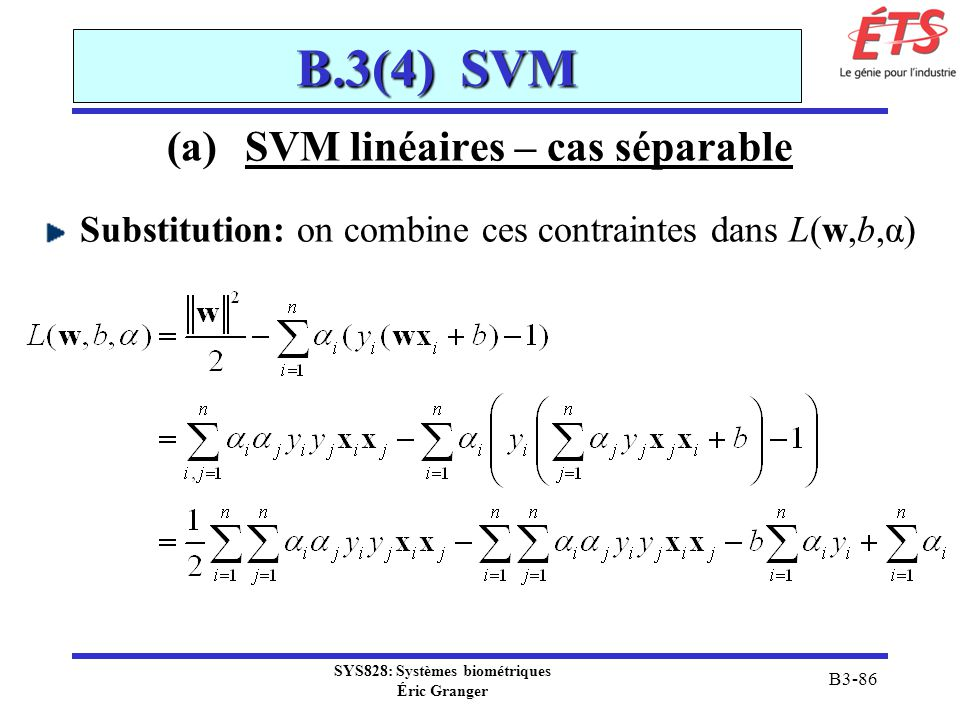SVM linéaires – cas séparable SYS828: Systèmes biométriques