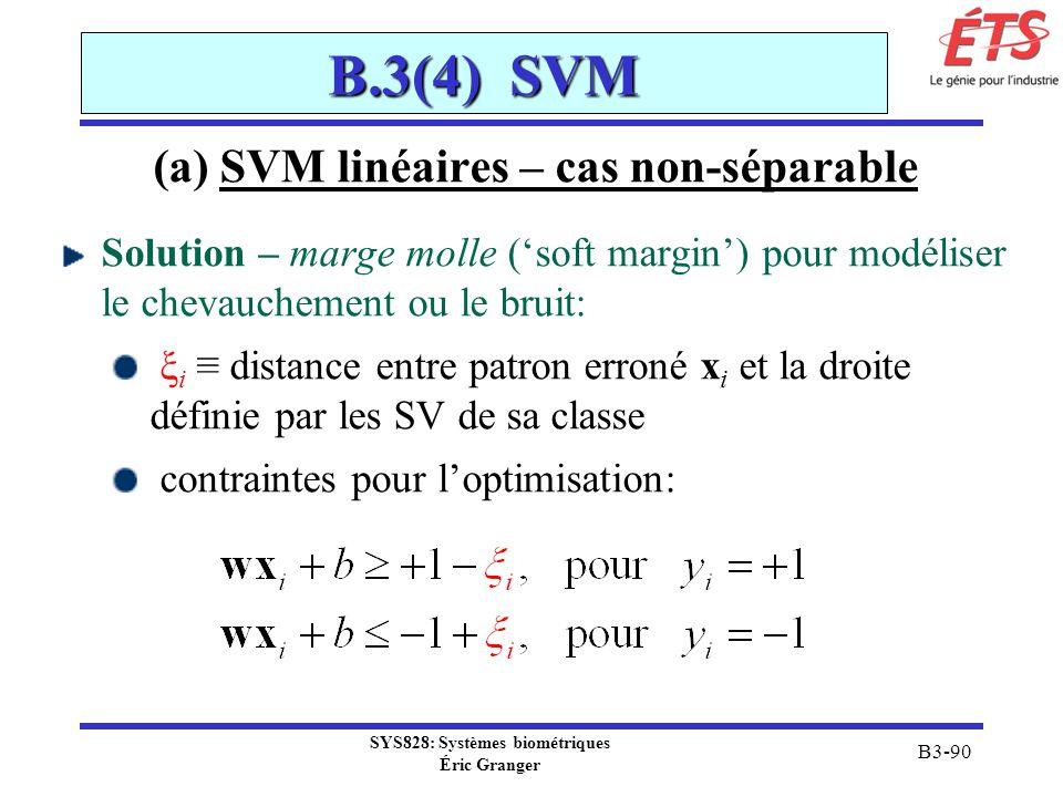 (a) SVM linéaires – cas non-séparable SYS828: Systèmes biométriques