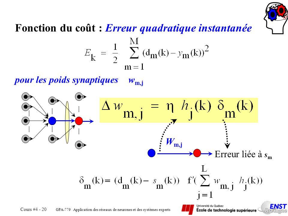 Fonction du coût : Erreur quadratique instantanée