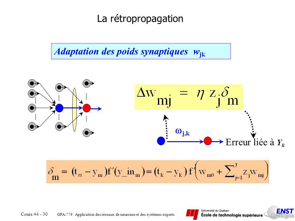 Adaptation des poids synaptiques wjk