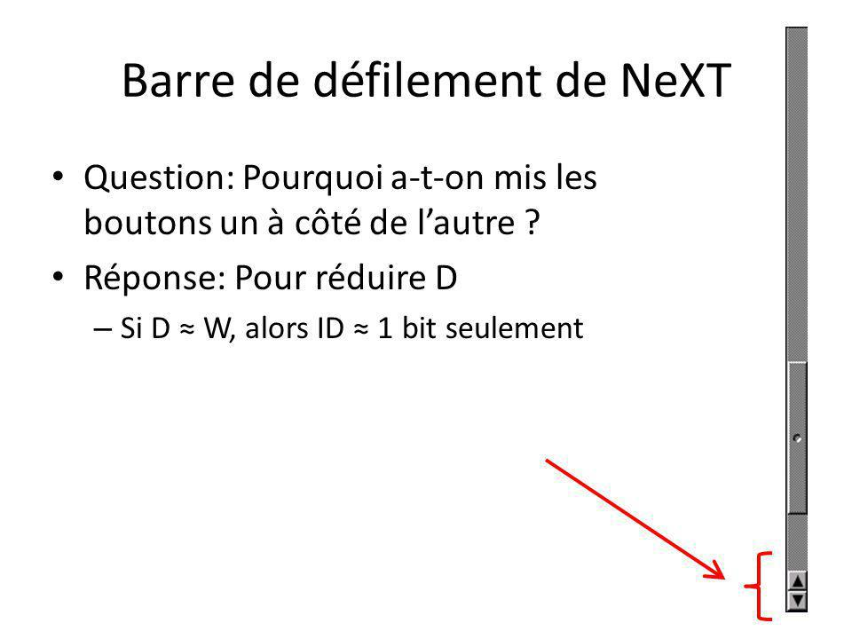 Barre de défilement de NeXT