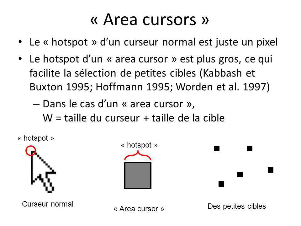« Area cursors » Le « hotspot » d'un curseur normal est juste un pixel