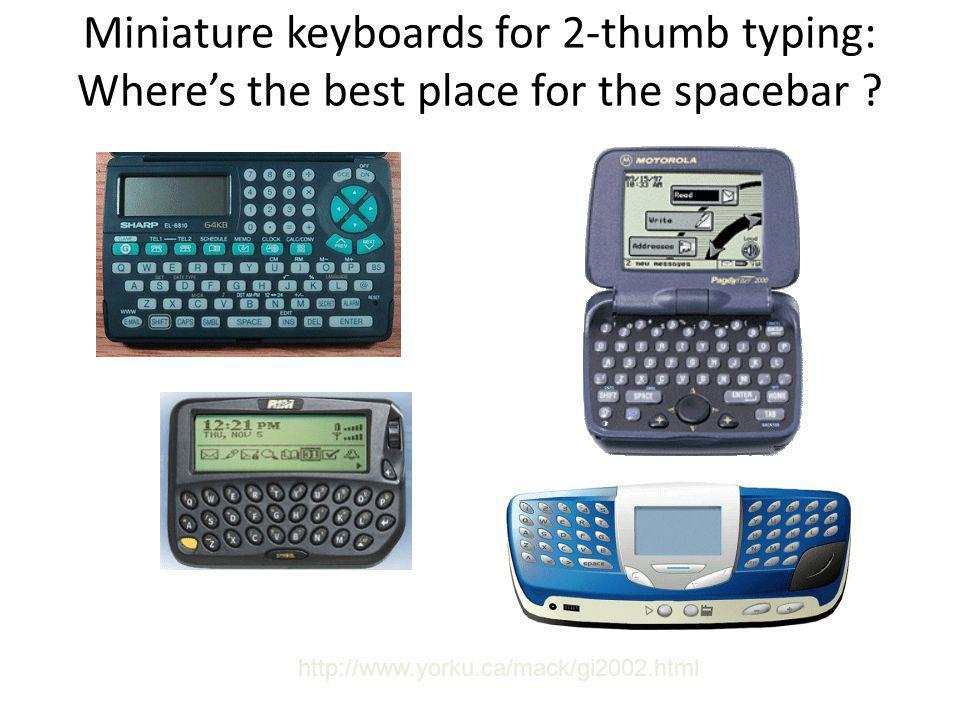 Miniature keyboards for 2-thumb typing: Where's the best place for the spacebar