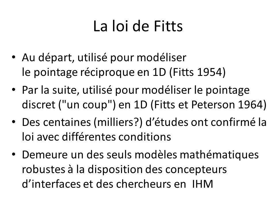 La loi de Fitts Au départ, utilisé pour modéliser le pointage réciproque en 1D (Fitts 1954)