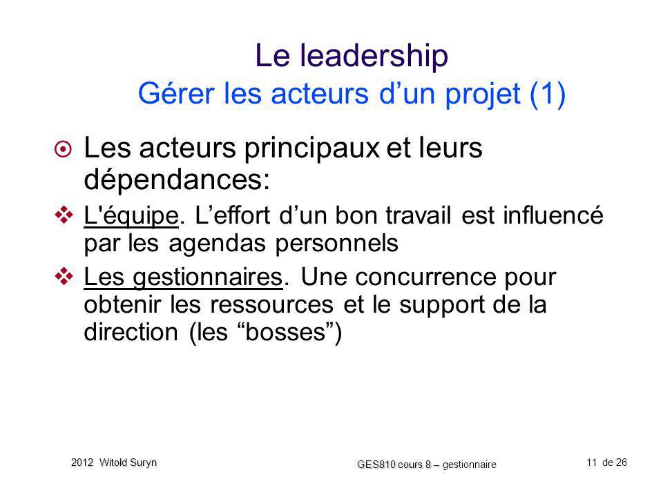 Le leadership Gérer les acteurs d'un projet (1)
