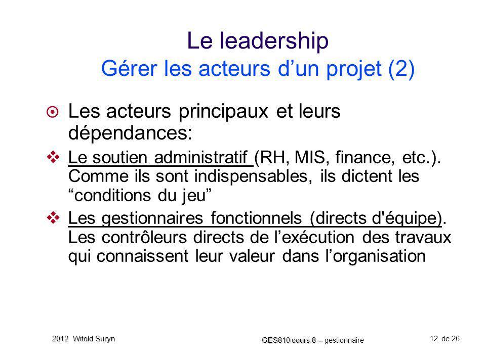 Le leadership Gérer les acteurs d'un projet (2)