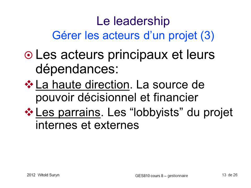 Le leadership Gérer les acteurs d'un projet (3)
